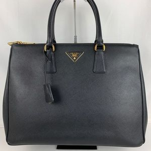 New Prada Italian Galleria Black Double Zip Tote